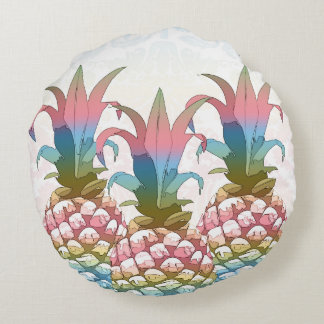 Pineapple Pastel Gradient ID246 Round Cushion