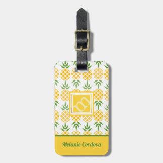 Pineapple Pattern-White, Monogram Luggage Tag