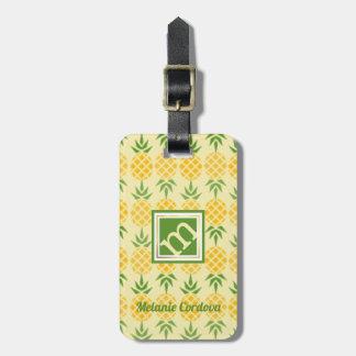 Pineapple Pattern-Yellow, Monogram Luggage Tag