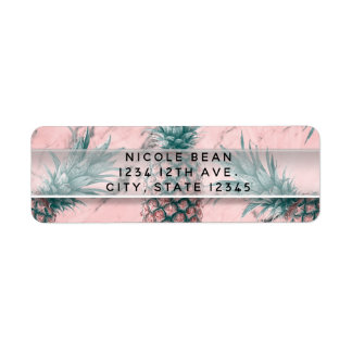 Pineapple Pink Marble Swirl Modern Party Return Address Label