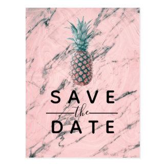Pineapple Pink Marble Swirl Modern Save the Date Postcard