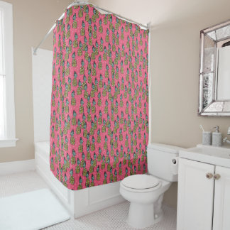 Pineapple Pink Tropical Exotic / Andrea Lauren Shower Curtain