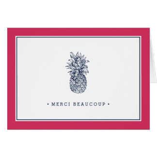 Pineapple Prep   Pink and Navy Thank You Card