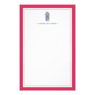Pineapple Prep   Pink & Navy Personalized Custom Stationery