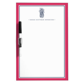 Pineapple Prep | Pink & Navy Personalized Dry Erase Whiteboards
