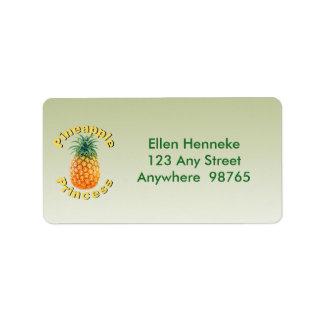 Pineapple Princess Address Label