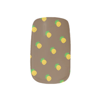 Pineapple Print Minx Nail Art Brown