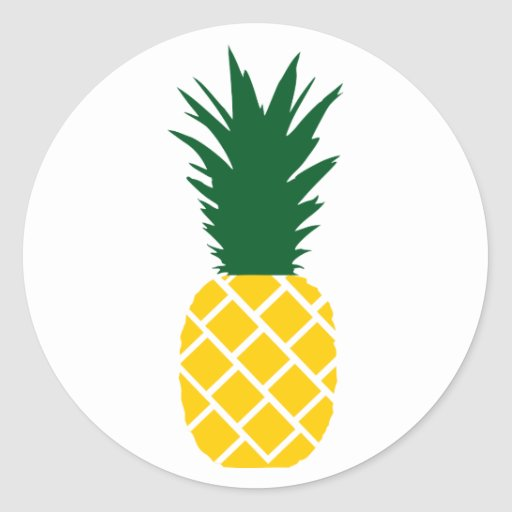 pineapple round sticker zazzle. Black Bedroom Furniture Sets. Home Design Ideas