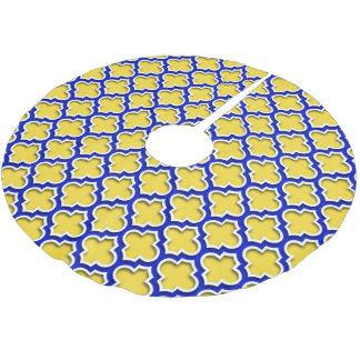Pineapple Royal Blue Wht Moroccan Quatrefoil #5DS Brushed Polyester Tree Skirt