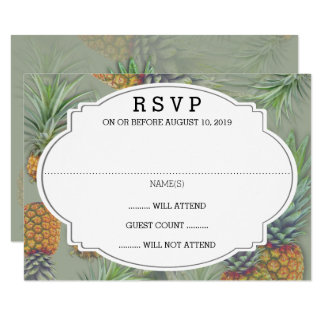 Pineapple Sage Green Wedding Reply Card