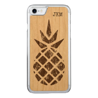 Pineapple Stamp in Brown, Personalize Option Carved iPhone 8/7 Case
