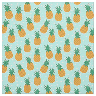 Pineapple Summer Aqua Polka Dot Fabric