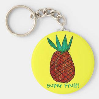 Pineapple, Super Fruit! Basic Round Button Key Ring