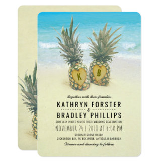 Pineapple Tropical Beach Destination Wedding Card