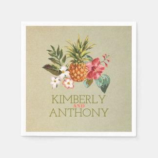 pineapple tropical beach destination wedding disposable serviettes