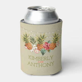 pineapple tropical beach wedding can cooler