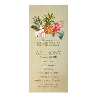 pineapple tropical beach wedding programs custom rack card