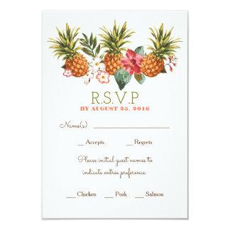 pineapple tropical beach wedding rsvp 9 cm x 13 cm invitation card
