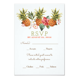 pineapple tropical beach wedding rsvp card
