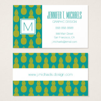 Pineapple Tropical Fruit | Monogram Business Card