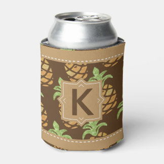Pineapple Tropical Fruit Monogram | Personalized Can Cooler