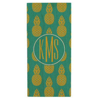 Pineapple Tropical Fruit | Monogram Wood USB 2.0 Flash Drive