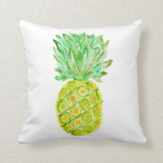 Pineapple Tropical Painted Fruit On White Fruity Cushions