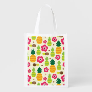 Pineapple Tropical Summer Seamless Pattern Reusable Grocery Bag