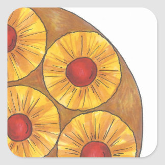 Pineapple Upside Down Cake Baking Dessert Foodie Square Sticker