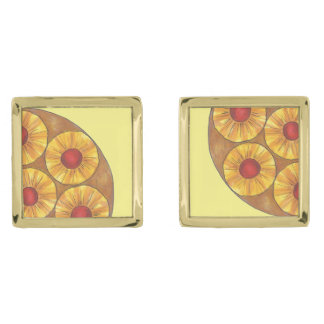 Pineapple Upside Down Cake Cherry Foodie Cufflinks Gold Finish Cuff Links