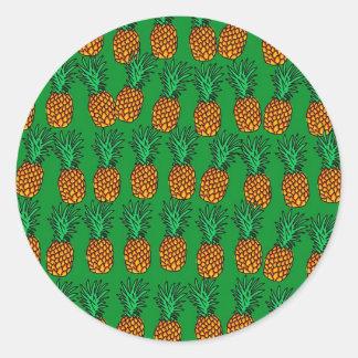 Pineapple Wallpaper Round Sticker