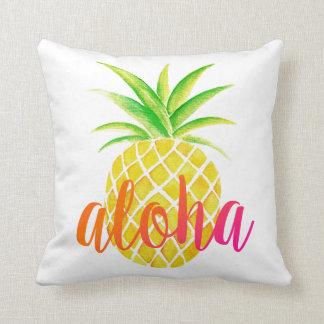 Pineapple Watercolor Aloha Tropical Pink Throw Pillow