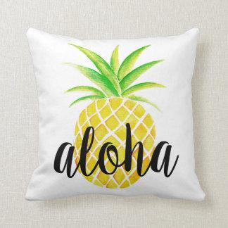 Pineapple Watercolor Aloha Tropical Summer Throw Pillow
