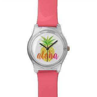 Pineapple Watercolor Aloha Tropical Watch