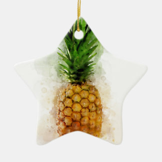 Pineapple Watercolor Ceramic Ornament