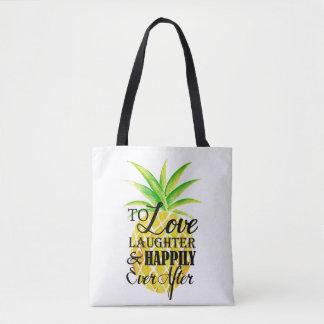 Pineapple Watercolor Love Laughter Wedding Tote Bag