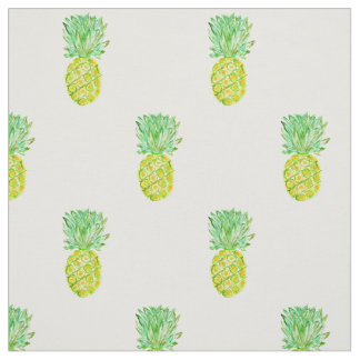 Pineapple Watercolor Painted, Organic Fruit Fresh Fabric