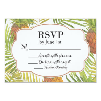 Pineapple Watercolor RSVP Card Tropical Theme