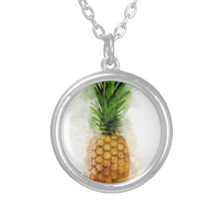 Pineapple Watercolor Silver Plated Necklace