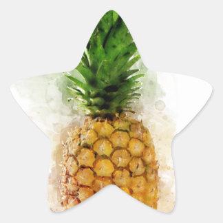 Pineapple Watercolor Star Sticker