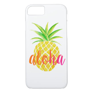 Pineapple Watercolor Tropical Aloha Pink iPhone 8/7 Case