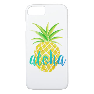 Pineapple Watercolor Tropical Aloha Turquoise iPhone 8/7 Case