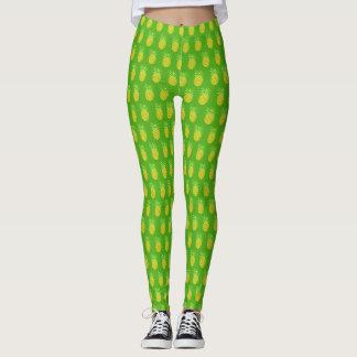 Pineapple Watercolor Tropical Green Leggings