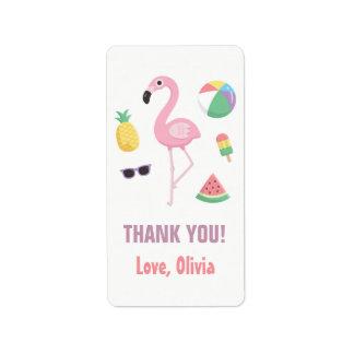 Pineapple Watermelon Flamingo Thank You Labels