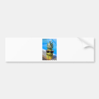 Pineapple wearing sunglasses at swimming pool bumper sticker