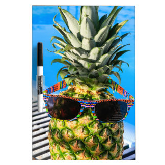Pineapple wearing sunglasses at swimming pool dry erase board