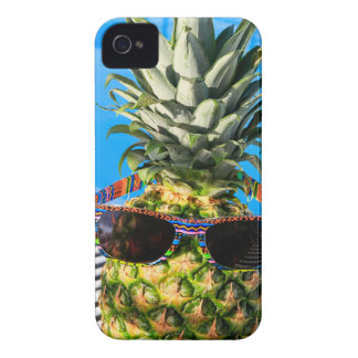 Pineapple wearing sunglasses at swimming pool iPhone 4 cases
