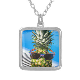 Pineapple wearing sunglasses at swimming pool silver plated necklace