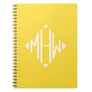 Pineapple White 3 Initials Diamond Shape Monogram Spiral Notebooks