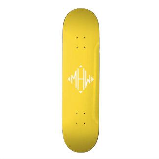 Pineapple White 3 Initials Diamond Shape Monogram Custom Skateboard